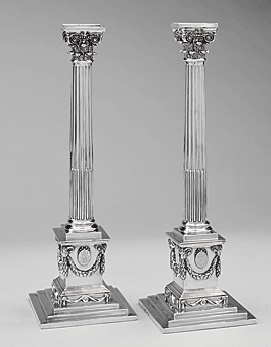 Fig. 3: Candlesticks (two of a set of eight), John Carter (active 1765–1780), London, England, 1771–1772. Silver, 14-1/2 x 4-3/4 x 4-3/4 in. Courtesy Middleton Place Foundation, Charleston, South Carolina. Photography by Rick Rhodes. Purchased in London by Arthur Middleton, signer of the Declaration of Independence, and his wife Mary Izard Middleton.