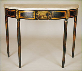 3: Pier Table Attributed To John (1777u20131851) And Hugh (1781u2013 1831) Finlay,  Baltimore, MD, 1800u20131810. Maple; Painted Black With Polychrome And Gilt And  ...