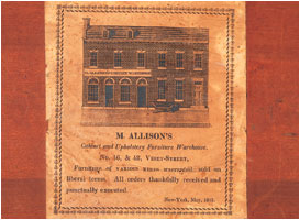 1: Paper Label Of Michael Allisonu0027s Cabinet Warehouse, 46 And 48 Vesey  Street, New York City, Dated May 1817.