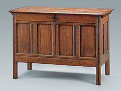 Fig. 2: Joined chest, probably Marshfield, Ma., 1630-1700. Red oak, pine, iron handles. H. 33-1/8, W. 44, D. 21-1/8 in. Lent by Licut Henry Lee Watson. Courtesy of the Museum of Fine Arts, Boston.