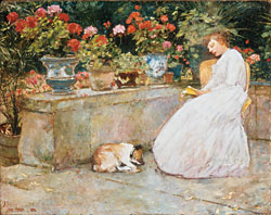 Fig. 2: Childe Hassam (1859–1935) Reading, 1888. Oil on panel, 20-1/2 x 24-1/2 inches. Courtesy, Hunter Museum of American Art, Chattanooga, Tenn., Gift of Mr. and Mrs. R. B. Davenport III.