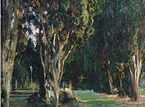 Fig. 4: John Singer Sargent (1856–1925) Falconieri Gardens, Frascati, 1907. Oil on canvas, 27-3/4 x 35-1/2 inches. Courtesy, Cheekwood Botanical Garden & Museum of Art, Nashville, Tenn., Gift of Mr. and Mrs. Walter Knestrick.