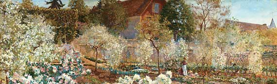 Fig. 5: Mary Fairchild MacMonnies Low (1858–1946) Blossoming Time in Normandy, 1901.  Oil on canvas, 38-1/2 x 63-5/8 inches. Courtesy, Collection of the Union League Club of Chicago.