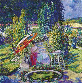Fig. 7: Frederick Carl Frieseke (1874–1939) The Garden Umbrella, ca. 1910. Oil on canvas, 32-5?16 x 32-5?16 inches. Courtesy, Telfair Museum of Art, Savannah, Ga. Bequest of Elizabeth Millar (Mrs. Bernice Frost) Bullard.