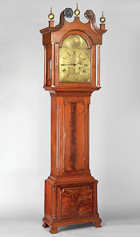 Fig. 11: Tall-case clock, movement by John Fisher (1736–1808), York, York County, Penn-sylvania, 1790–1800. Walnut, tulip-poplar, brass, bronze, iron, steel, silver; glass. H. 104-3/4, W. 27, D. 15 in. York County Heritage Trust.