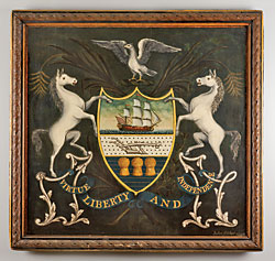 Fig. 12: Pennsylvania coat of arms by John Fisher (1736–1808), York, York County, Pennsylvania 1796. Oil on panel. H. 38, W. 39-3/4, D. 2-1/2 in. York College of Pennsylvania.