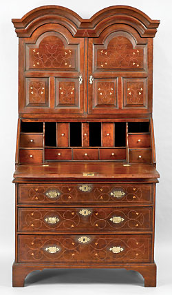 Fig. 2: Desk-and-bookcase made for William Montgomery, Nottingham area, Chester County, Pennsylvania, 1725–1740. Cherry, chestnut, tulip-poplar, oak, white pine, walnut, holly, brass. H. 76, W. 37¾, D. 21½ in. Rocky Hill Collection.