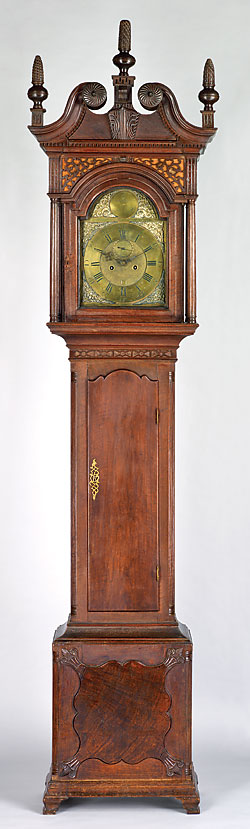 Fig. 3: Tall-case clock, movement by Benjamin Chandlee Jr. (1723–1791), case by Jacob Brown (1746–1802), Nottingham area, Chester County, Pennsylvania, 1788. Walnut, hard pine, tulip-poplar, brass, iron, bronze, steel, glass. H. 107½, W. 25½, D. 14½ in. Collection of Mr. and Mrs. John McDowell Morris and Family.