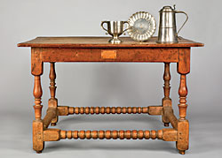 Fig. 4: Communion table, probably Lancaster County, Pennsylvania, 1720–1745. Walnut. H. 29, W. 47?, D. 33? in. Two-handle cup and flagon, William Eddon (active 1690–1737), London, 1720–35. Paten, Richard King (active 1745–1798), London, 1745–75. Pewter. Donegal Presbyterian Church, Mount Joy, Pa.