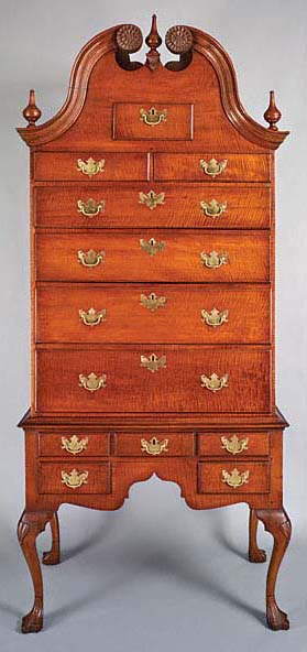 Fig. 5: High chest of drawers by Seth Pancoast (1718-1792), Marple Township, Chester (now Delaware) County, Pennsylvania, 1766. Maple, tulip-poplar, chestnut, maple, brass. H. 95, W. 41-5/8, D. 22-3/8 in. Winterthur Museum, promised gift of John J. Snyder Jr.