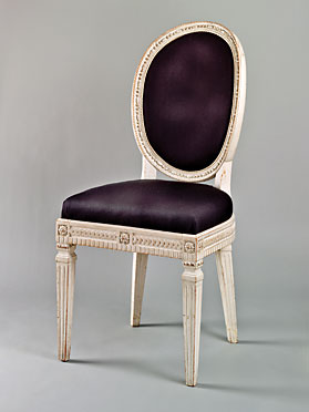 Fig. 8: Liturgist's chair attributed to Johann Friedrich Bourquin (1762–1830), Bethlehem, Northampton County, Pennsylvania, 1803–1806. Maple, paint, wool (modern), cotton, linen, leather, hair, iron. H. 39-1/4, W. 18-1/2, D. 18 in. Moravian Archives, Bethlehem, Pa.