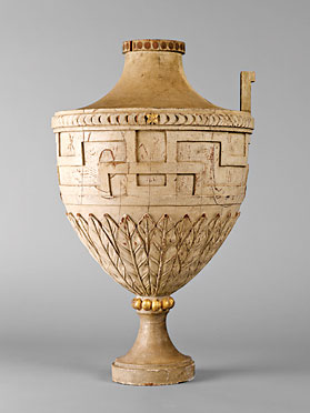 Fig. 9: Urn attributed to Johann Friedrich Bourquin (1762–1830), Bethlehem, Northampton County, Pennsylvania, 1803–1806. Tulip-poplar, paint, gold leaf. H. 27, Diam. 16 in. Central Moravian Church, Bethlehem, Pa.