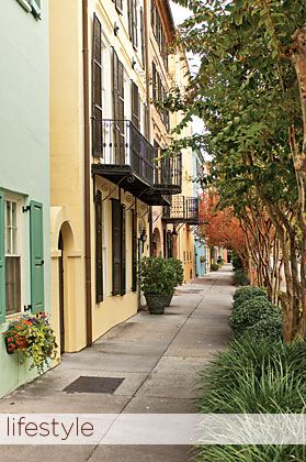 Fig. 1: Rainbow Row in the historic district of Charleston.