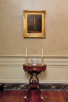 The lyre-based sewing table, circa 1815, is either New York or Philadelphia. The circa-1830 portrait of John Ashhurst Sr. (1809–1892) of Philadelphia, which retains its original frame, is attributed to William James Hubard (1807–1862).