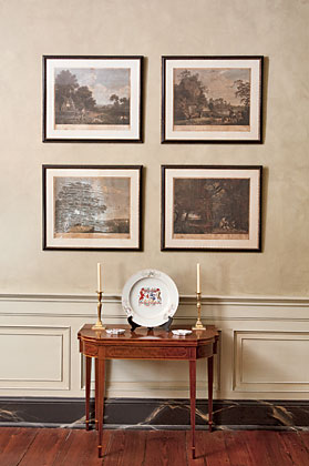 The New York five-legged card table is set under colored engravings of hunt scenes by English artist George Stubbs (1724–1806), 1770.