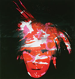 Andy Warhol (1928–1987) Camouflage Self-Portrait, 1986 Synthetic polymer paint and silkscreen on canvas, 80-1/2 x 76 inches Philadelphia Museum of Art, Pennsylvania; acquired with funds contributed by the Committee on Twentieth-Century Art and as a partial gift of the Andy Warhol Foundation for the Visual Arts, Inc., 1993.