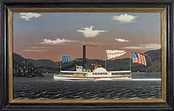 "The Hudson River steam boat Oliver M. Pettit, 1857, by James Bard (1815–1897), ""exemplifies the perfect color palette,"" says Patrick Bell. Exhibited in the The Flowering of American Folk Art, the 1974 Whitney Museum exhibition, the painting was also illustrated in its accompanying catalogue. The painting is inscribed and dated on the lower right."