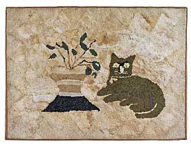 This cat hooked rug was an early purchase.  Pennsylvania, nineteenth century.