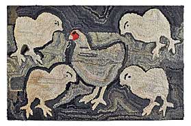 Hen and chicks hooked rug, Pennsylvania,  early twentieth century.