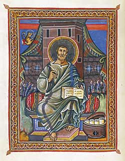 Fig. 2: The Evangelist Luke, Gospel Book, in Latin, France, Reims, ca. 860. 12 x 10-1/4 inches. Purchased by J. P. Morgan, Jr., 1927, MS M.728 (fol. 94v).