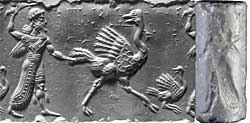 Fig. 3: A Winged Hero Pursuing Two Ostriches, cylinder seal and impression, Mesopotamia, Middle Assyrian period (ca. 1250–1150 BCE). Marble, 31 x 14 mm, Seal no. 606.