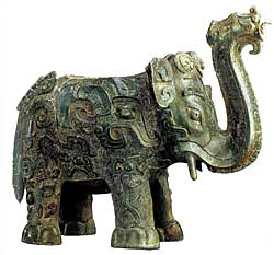 Elephant-shaped Zun Vessel 1975 Late Shang period, 12th–11th century BCE Unearthed in 1975 at Shixingshan, Liling Bronze. H. 8.97, W 10.43 in Courtesy, Hunan Provincial Museum