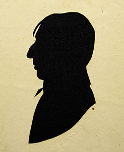 Fig. 10: William Jennys (1774–1859), hollow-cut silhouette, ca. 1805, also shown in figure 1. White paper mounted on black cloth, 4-3/4 x 3-3/4 inches. Private collection.
