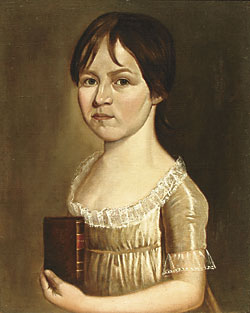 Fig. 5: Richard Jennys (ca. 1734– ca. 1809) or William Jennys (1774–1859), Young Girl Holding a Book by Pope, ca. 1800. Oil on canvas, 20 x 16 inches. Private collection.  Jennys portraits of children were usually painted on a smaller canvas.