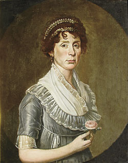 Fig. 7: William Jennys (1774–1859), Woman with Double Head Band, ca. 1805. Oil on canvas, 30 x 25 inches. Private collection.  This portrait is unusual as the arm is in front of the spandrel. It was among the few items that noted Connecticut antiques dealer Mary Allis retained until her passing.