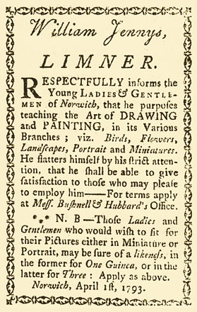 Fig. 8: Advertisement published in The Weekly Register, Norwich, Connecticut, April 1793.  This is the first advertisement by William Jennys that has been located.