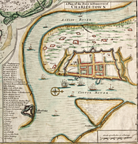 Fig. 3: One of the earliest known maps of the early fortified city, A Plan of the Town & Harbour of Charles-Town (1711), by Edward Crisp, reveals the dense settlement pattern of the city, organized in city blocks. It also shows the importance of the waterfront along the Cooper River, and how the city walls were wedged between substantial creeks to the north and the south. Library of Congress Prints and Photographs Online Catalogue.