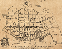 "Fig. 5: Ichnography of Charleston, South-Carolina (1788), by Edmund Petrie, shows the growth of the city and the realization of the early ""Grand Modell"" plan, which called for an orderly grid of streets centered on a civic square, extending beyond the original city walls. This map exhibits the rapid pace of development that occurred in Charleston throughout the mid-eighteenth century. Library of Congress Prints and Photographs Online Catalogue."