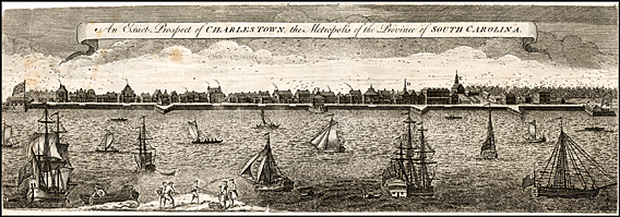 Fig. 4: Entitled An Exact Prospect of Charles-Town, the Metropolis of the Province of South Carolina (1739), this engraving by Bishop Roberts provides a rare glimpse of the buildings constructed along the waterfront before the devastating fire of 1740. With its medley of architectural forms, it could have been mistaken for a port city in England or Barbados. Library of Congress Prints and Photographs Online Catalogue.