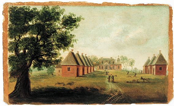 "Fig. 12: Mulberry Plantation, also called ""Mulberry Castle"" by some romantics of the nineteenth century, was built by Thomas Broughton, a planter, Indian trader, soldier, and politician from a prominent British family. The plantation was modeled after Seaton, the Broughton family estate in England. The house was designed in the Jacobean baroque style, as seen in the large windows and the small pseudo-military towers. Also distinctive to the Mulberry Plantation are the corner pavilions and gambrel roof. The brick houses lining the ""street,"" now destroyed, once served as slave cabins. Coram also included details of plantation life, such as figures carrying tools and animals grazing."
