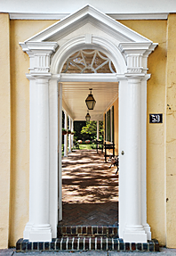 Detail of the entryway at the Thomas Rose House. Photography by Carrie Naas.
