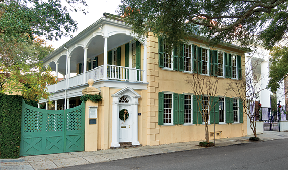 Fig. 6: The Thomas Rose House, ca. 1735, is a rare survivor of the great fire of 1740, which decimated most of the original buildings in the old walled city. This residence features its original interior layout, though the exterior was modified at the turn of the nineteenth century. Owned by a family that has played an important role in the preservation of Charleston since the formation of HCF in 1947, the preservation story of this property is quite incredible and it reveals the philanthropic spirit that permeates Charleston. The Thomas Rose House will soon be gifted to the foundation with significant exterior and interior easements to ensure that the residence and its garden are protected in perpetuity. Photography by Rick McKee; inset by Carrie Naas.