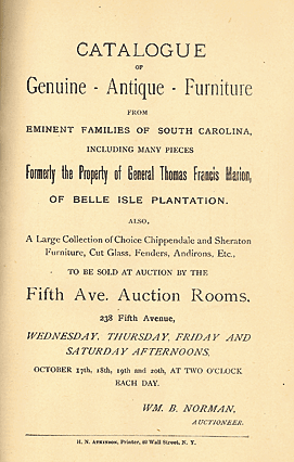 Title page, Catalogue of genuine Antique Furniture from eminent families of South Carolina, Fifth Avenue Auction Rooms in New York City, 1894. Courtesy, The Charleston Museum.