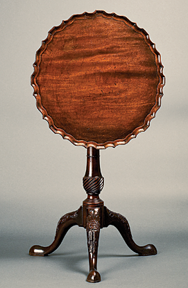 Kettle Stand, Charleston, S.C., ca. 1750–1760. Mahogany. H. 27-5/8, Diam. 21 in. Courtesy, the Rivers Collection, Charleston, S.C. Photograph provided by the Gibbes Museum of Art, where it is currently on view.  The kettle stand is a rarity in American furniture.  Used in conjunction with a larger tea table of similar design and decoration, the simple, bold pattern and heavy veining of this stand is in the Baroque style of such early carvers as Henry Burnett (American, d. 1761), the chief carver of St. Michael's Church in downtown Charleston.