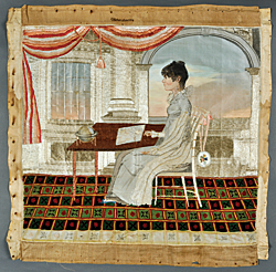 "Attributed to Emma Louisa Lanneau Gildersleeve (American, 1804–1859). Embroidery, Charleston, S.C., ca. 1820/25. Silk. 22 x 24 inches. Stitched top middle: Gildersleeve (in cross-stitch); signed back top right: ""T"" (in ink). Courtesy, the Rivers Collection, Charleston, S.C. Photography by Russell Buskirk.  This rare needlework is the only known silkwork with this type of scene made in Charleston; the majority of others depict biblical, mythological, or classical subjects."