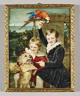 Sir William Ross (1794–1860), Prince Ernest and Prince Edward of Leiningen with a Macaw, 1839. Watercolor on ivory laid on card, 190 x 147 mm. Commissioned by Queen Victoria in 1839. Royal Collection © 2010, Her Majesty Queen Elizabeth II.