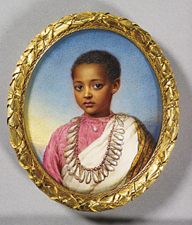 Reginald Easton (1807–1892), Alamaiou, son of Theodore Emperor of Abyssinia, 1868. Watercolour on ivory laid on the original backing card, 95 x 80 mm. Painted at Osborne House for Queen Victoria; her payment of 10 guineas to Easton is recorded in the accounts on 25 September 1868. Royal Collection © 2010, Her Majesty Queen Elizabeth II.