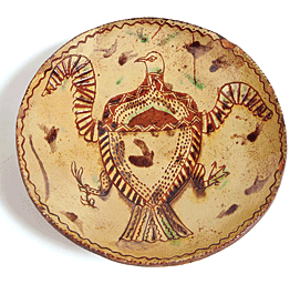 Fig. 3: Redware plate, Unknown maker, Pennsylvania, nineteenth century. Diam. 10-1/2 in. Private Collection.