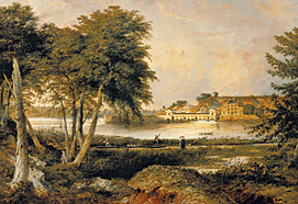 Fig. 6: Fairmount waterworks, the dam, and the entrance to the Canal, James Peale, Jr. (1789–1876), before 1823. Framed 27 x 37 inches. Photograph courtesy Schwarz Gallery.