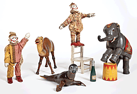 Fig. 7: Selection of jointed wooden figures and accessories from the Humpty Dumpty Circus, Albert Schoenhut Company, Philadelphia, early twentieth century. Average H. 7 in. Courtesy, Philadelphia History Museum.