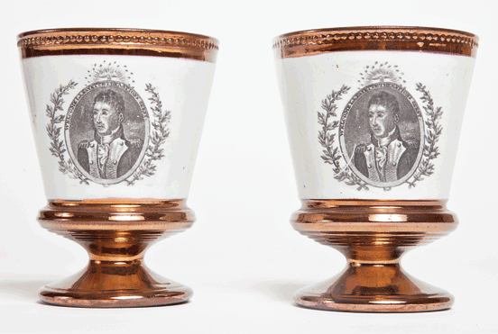 Fig. 4: Pair of footed goblets with overglaze portrait of Lafayette. Glass with copper lustre glaze. H. 4-1/2, Diam. 3-1/2 in. Probably English, ca. 1824. Courtesy, Germantown Historical Society.