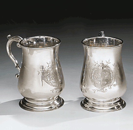 Fig. 2: Pair of silver canns, Philip Syng, Jr., 1750–1755. H. 4-3/8, Diam. 4-7/8 in. Left: Philadelphia Museum of Art: Gift of Lynford Lardner Starr (1992–156–2); Right: Independence National Historical Park (9965).