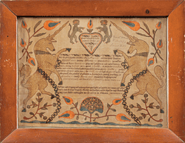 Fig. 1: Fraktur for Anna Maria Schmitt, Christian Mertel, circa 1800. Watercolor on paper, 12 x 15 inches. Courtesy, Dietrich American Foundation.