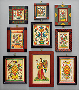 In the entry is a collection of miniature watercolors on paper by David Ellinger (1913–2003), an antiques dealer and artist who painted theorems and fraktur inspired by nineteenth-century Pennsylvania German examples. Dennis acquired them at a Pook & Pook Auction and then mounted the framed paintings on a board.