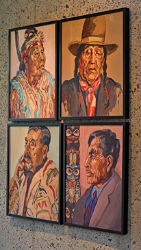 When he lived in Vancouver from 1988 to 1993, Dennis bought a dozen portraits by Mildred Valley Thornton (1890–1967), who, in the 1930s, working directly in oil on canvas, recorded the last of the living Indian chiefs of the Pacific Northwest. When the Canadian government refused to accept her collection on behalf of the people of Canada, Thornton left a codicil in her will directing that the paintings be burned upon her death. The paintings were not burned but dispersed to museums in Canada and to private collections. These four are in the hallway next to a powder room, four more are in the master bathroom, and others are in storage.