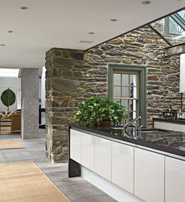 The kitchen is lit with skylights and a glass wall that opens onto the front terrace.